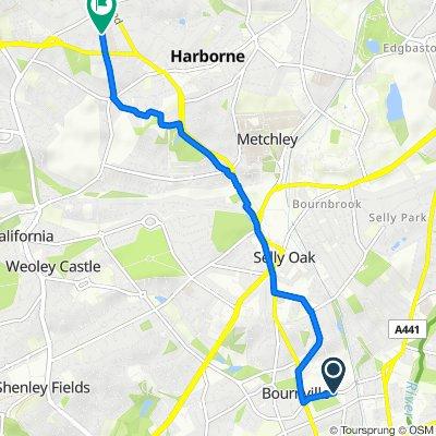 Bournville Lane, Birmingham to 55 Wood Lane, Birmingham