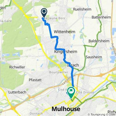 De 5 Rue du Sundgau, Wittenheim à 2 Rue des Gymnastes, Mulhouse