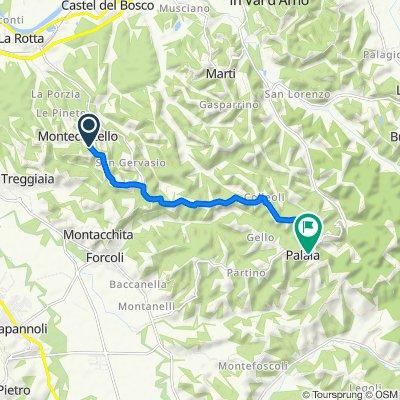 Da Via Castellare, Pontedera a Via della Pieve 6, Palaia