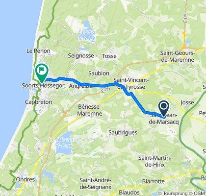 De 21 Route de Caplanne, Saint-Jean-de-Marsacq à 689 Avenue du Touring-Club, Soorts-Hossegor