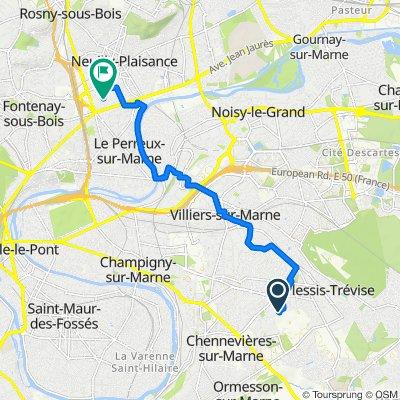 De 5 Avenue Joseph Cugnot, Le Plessis-Trévise à 1–11 Allée de l'Égalité, Le Perreux-sur-Marne