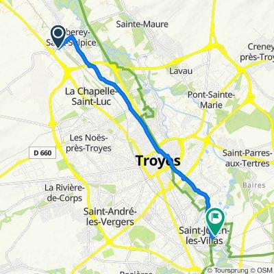 De Rue de la Gare 35, Barberey-Saint-Sulpice à Rue de la Burie 26, Saint-Julien-les-Villas