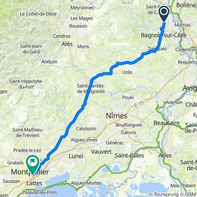 Chemin du Four à Chaux, Saint-Nazaire naar Allée des Cistes de Montpellier, Montpellier