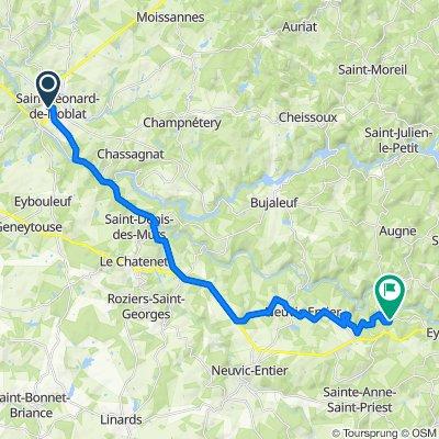 Chemin du Pavé, Saint-Léonard-de-Noblat naar D129a, Eymoutiers