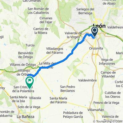 De Calle Real 34, Santovenia de la Valdoncina a Calle Real 23, Seisón de la Vega
