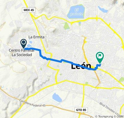 De Calle Unamuno 419, León a Calle Héroes de la Independencia 1205A, León