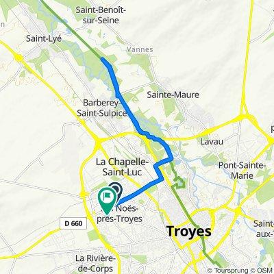 De Allée des Charmilles 10, Les Noës-prés-Troyes à Rue Lamartine 70, Les Noës-prés-Troyes