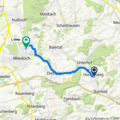Ortsstraße 58, Dielheim nach Westliche Zufahrt, Wiesloch