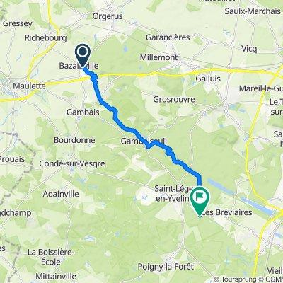Itinéraire à partir de 1 Chemin de l'Aunay, Bazainville
