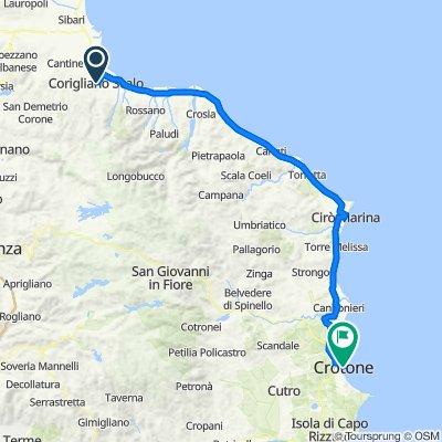 Da Via Giovanni Pascoli in Frazione Corigliano Scalo, Corigliano Scalo a Piazza Pitagora 9, Crotone