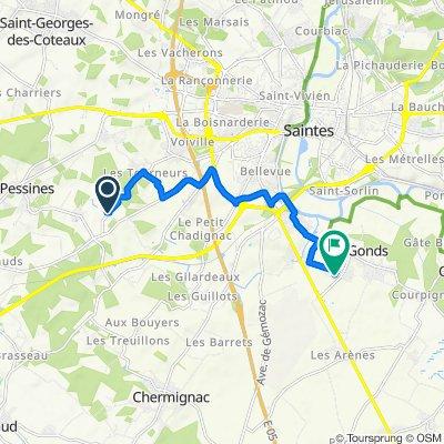 De 16 Route des Mouchets, Saintes à 15 Chemin de la Ruelle, Les Gonds