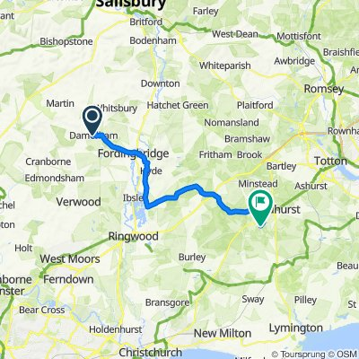 Route from High Street, Fordingbridge