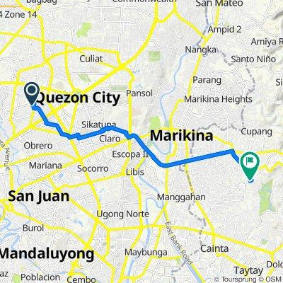 1 Zorra Street, Quezon City to 6 Teremil Subdivision Road, Cainta