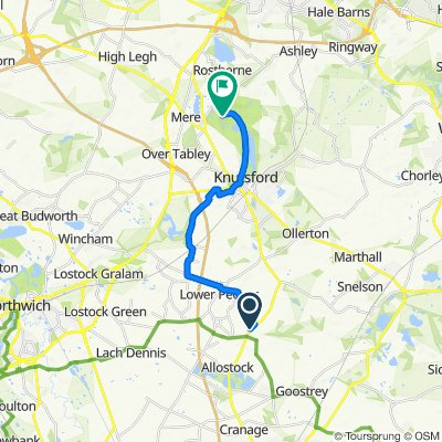 Route from Hickory Hill, London Road, Knutsford