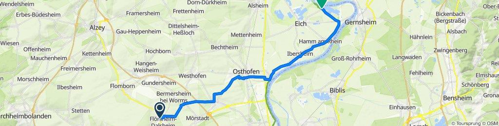 Wonnegaustraße 1–9, Flörsheim-Dalsheim nach Nachtigallenweg 29, Eich