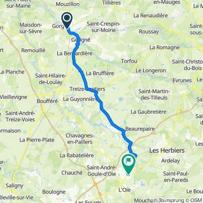 De 15 Rue des Hauts de Gervaux, Clisson à Impasse des Fauvettes, Vendrennes