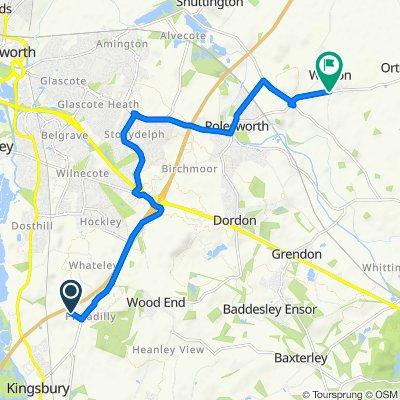 Route to Orton Road, Tamworth