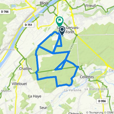De Chemin du Charbonnier, Saint-Gervais-la-Forêt à 8 Passage du Caillou Blanc, Saint-Gervais-la-Forêt