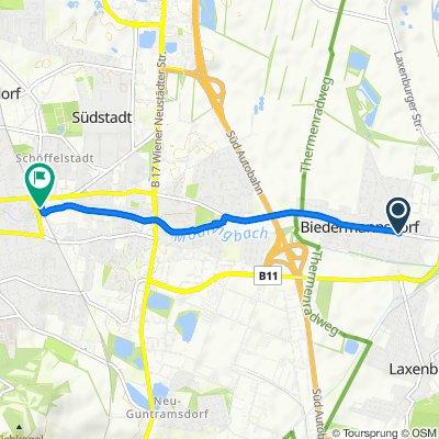 Ortsstraße 1/1, Biedermannsdorf nach Bahnhofplatz 10/1W, Mödling
