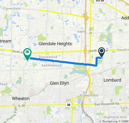 Ice Cream Ride:  28W Berkshire Ave, Lombard to 290 S Schmale Rd, Carol Stream
