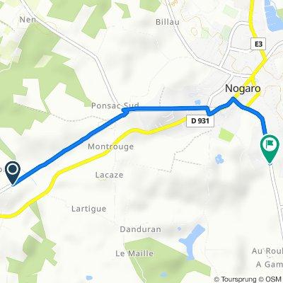 De D931, Arblade-le-Haut à Lotissement la Tuilerie 20, Nogaro