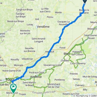 De Route de Meung 16, Beauce-la-Romaine à Allée de Bergeresse 8, Veigné