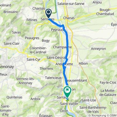 De 10B Route du Péage, Sablons à Rue du Belvédère, Saint-Vallier