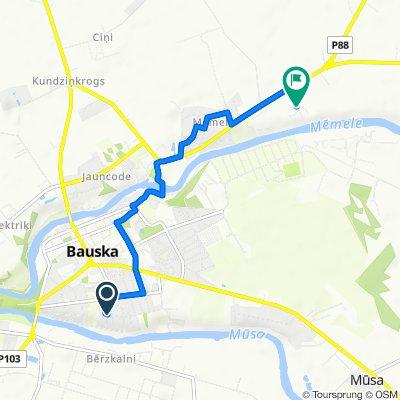 Route from Zemgaļu iela 10–18A, Bauska