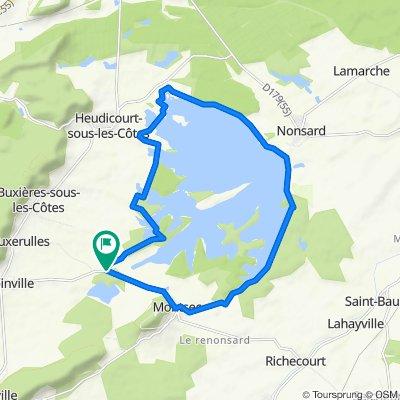 Le Paradis fietsroute 2 Rondje Lac de Madine (23,7 km)