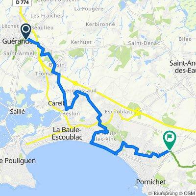 De Chemin du Pradillon 13, Guérande à Route de la ville Joie 32, La Baule-Escoublac