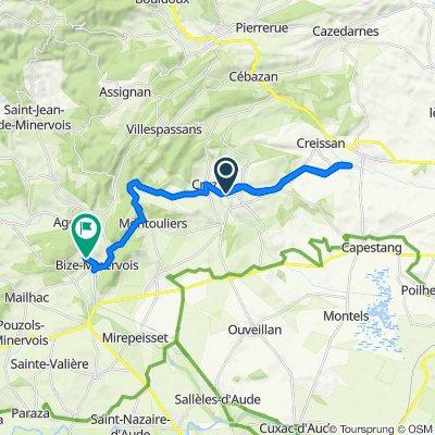 De D37, Cruzy à 4 Traverse des Hauts de Fontfresque, Bize-Minervois