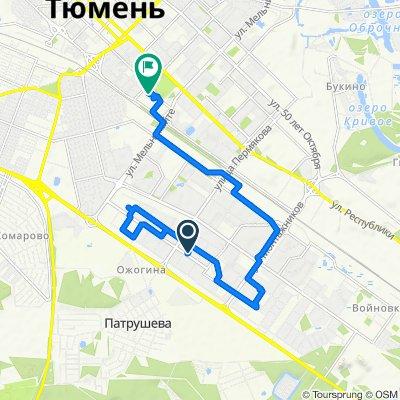 От улица Прокопия Артамонова 5, Тюмень до улица Малыгина 82, Тюмень