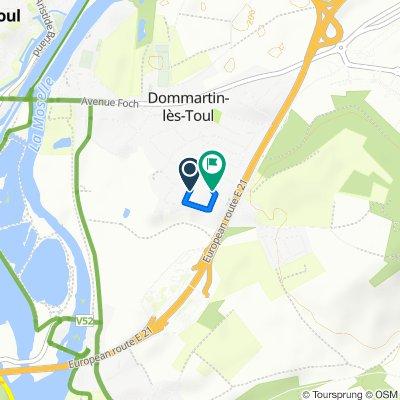 De 7 Allée Saint-Vincent, Dommartin-lès-Toul à 2–10B Rue du 8ème Bataillon de Chasseurs à Pied, Dommartin-lès-Toul