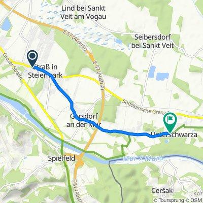 Hauptstraße 52, Straß in Steiermark nach Unterschwarza 28, Unterschwarza