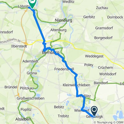 Route von Gröbziger Straße 38, Könnern
