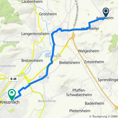 Dörrgasse 1, Aspisheim nach Bosenheimer Straße 89-97, Bad Kreuznach