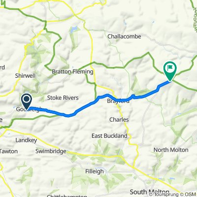 Route from 21 Longland Close, Barnstaple