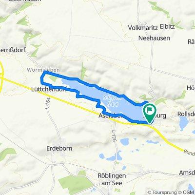 Route von Wochenendhaussiedlung Südufer 1, Seegebiet Mansfelder Land