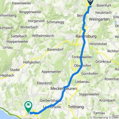 Eisenbahnstraße 1, Baienfurt nach Heckenrosenweg 8, Friedrichshafen
