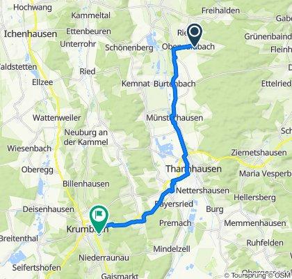 Lichtenaustraße 26, Burtenbach nach Hedwig-Lachmann-Weg 32, Krumbach (Schwaben)