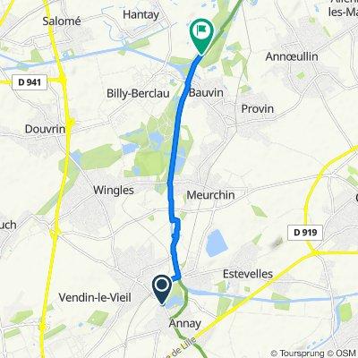 De Chemin des Postes, Annay à Chemin du Halage, Bauvin