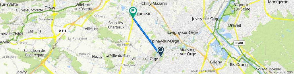 De Route de Longpont, Sainte-Geneviève-des-Bois à 4 Rue de Verdun, Longjumeau