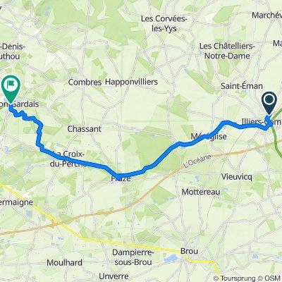 De 16 Place de la Gare, Illiers-Combray à 1B Ruelle de la Motte, Thiron-Gardais