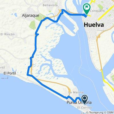 De Calle del Alcaraván, Punta Umbría a Avenida Costa de la Luz, Huelva