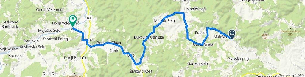 Slavsko Polje 134, Gvozd nach Donji Velemerić 60A, Barilovići