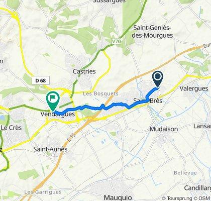 De 120 Avenue Georges Frêche, Saint-Brès à 20B Rue de la Fontaine, Vendargues