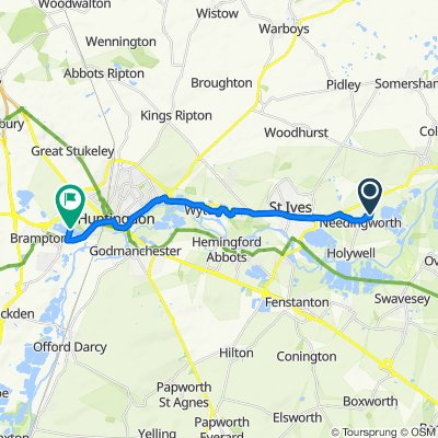 Route from 18 Willow Green, St Ives