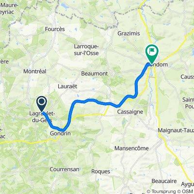 De D254, Lagraulet-du-Gers à 10 Rue du Maréchal Foch, Condom