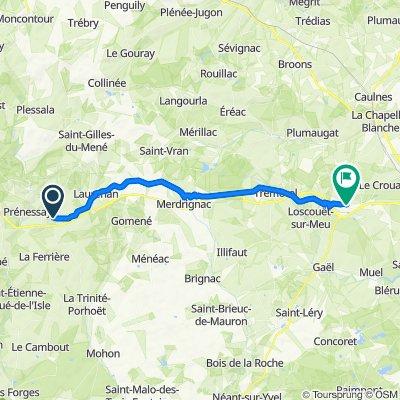 De 4–5 Place du Général de Gaulle, Plémet à 1 Rue Louison Bobet, Saint-Méen-le-Grand