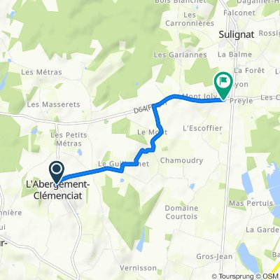 De 50 Route de la Fontaine, L'Abergement-Clémenciat à D64, Sulignat